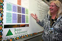 Mission Bay High School teacher Jane Schmitz explains the structure of the tee-shirt company that her students formed as part of the Business 100 class that she teaches at the school, Friday April 25 2008.