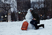 washington Square park on February 13, 2014 in New York City. The latest storm was expected to dump up to 14 inches on some parts of the city.e. Photo by Kena Betancur / VIEWpress.