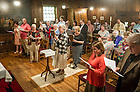 Jul. 14, 2014; Members of the Sisters of Loretto of Nerinx, Kentucky, carry the three volumes of a bible once owned by Rev. Stephen Badin at the beginning of a Mass in the Log Chapel where Father Badin is buried.  <br /> <br /> Photo by Matt Cashore/University of Notre Dame