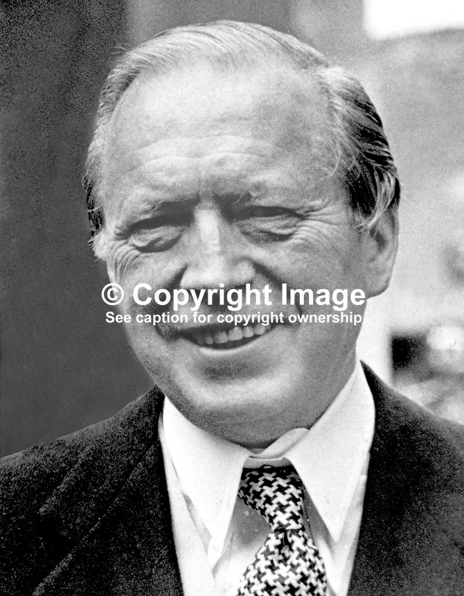 Airey Neave, MP, Conservative Party, UK, photographed during a visit to N Ireland. On 30 March 1979 he was assassinated when a car bomb activated by a mercury tilt switch exploded as he was leaving the Palace of Westminster. His murder was claimed by INLA, Irish National Liberation Army, 1976060601a..Copyright Image from Victor Patterson, 54 Dorchester Park, Belfast, United Kingdom, UK...For my Terms and Conditions of Use go to http://www.victorpatterson.com/Victor_Patterson/Terms_%26_Conditions.html
