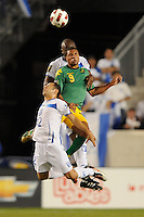 Ryan Johnson (9) of Jamaica and Alfredo Mejia (12) of Honduras go up for a header. Jamaica defeated Honduras 1-0 during a CONCACAF Gold Cup group stage match at Red Bull Arena in Harrison, NJ, on June 13, 2011.