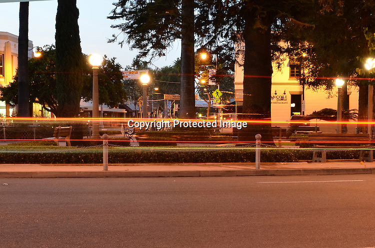 Stock photo of traffic circle at City of Orange Orange County, California