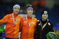 SCHAATSEN: HEERENVEEN: IJsstadion Thialf, 12-02-15, World Single Distances Speed Skating Championships, Podium 10.000m Men, Erik-Jan Kooiman (NED), Jorrit Bergsma (NED), Patrick Beckert (GER), ©foto Martin de Jong
