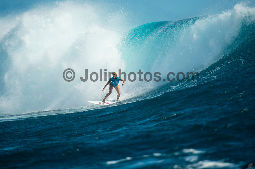 Namotu Island Resort, Namotu, Fiji. (Tuesday May 27, 2014) Tatiana Weston-Webb (HAW) –  The Fiji Women's Pro, Stop No. 5 of 10 on the 2014  Women's World Championship Tour (WCT) was called on today  at Cloudbreak in a ring 4'-6' south swell.  The South East Trades, which are side offshore at Cloudbreak increased with the growing swell and made conditions difficult by mid afternoon. All of Rounds 1 & 2 were completed with Malia Manual (HAW) registering the day's highest score with powerful forehand surfing. The event has attracted the world's best female surfers to the world-class waves of Cloudbreak and Restaurants for the recommencement of this season's battle for the world surfing crown. Photo: joliphotos.com
