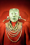 Replica of Lord Pakal's jade death mask and jade necklaces from Pakal's tomb in the Temple of the Inscriptions at Palenque, National Museum of Anthropology Mexico City. The original mask was stolen from the museum in 1985, and it has yet to be recovered.