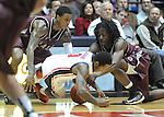 "Arkansas Little Rock's Leroy Isler, left, Mississippi's Derrick Millinghaus (3), and Arkansas Little Rock's Josh Hagins, right, go for the ball at the C.M. ""Tad"" Smith Coliseum in Oxford, Miss. on Friday, November 16, 2012. (AP Photo/Oxford Eagle, Bruce Newman)"