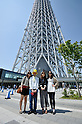 May 27, 2012, Tokyo, Japan - Visitors photograph the newly opened Tokyo Skytree on Sunday, May 27, 2012. Tokyo Skytree, the world's tallest broadcasting tower, and surrounding facilities had 564,000 visitors in its first weekend since opening last week. The good weather on both days helped push the figure above the initial forecast of about 400,000 visitors. (Photo by Masahiro Tsurugi/AFLO) -ty-