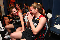 6 April 2008: Stanford Cardinal Hannah Donaghe (left) and Jeanette Pohlen (right) during Stanford's 82-73 win against the Connecticut Huskies in the 2008 NCAA Division I Women's Basketball Final Four semifinal game at the St. Pete Times Forum Arena in Tampa Bay, FL.