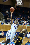 30 October 2012: Duke's Ka'lia Johnson (14) and Shaw's Diamond Mitchell (11). The Duke University Blue Devils played the Shaw University Lady Bears at Cameron Indoor Stadium in Durham, North Carolina in women's college basketball exhibition game. Duke won the game 138-32.