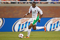 Guadeloupe forward Richard Socrier(21) dribbles the ball during the CONCACAF soccer match between Panama and Guadeloupe at Ford Field Detroit, Michigan.