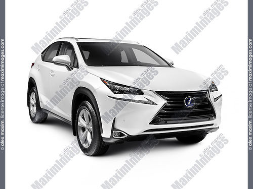 White 2016 Lexus NX 300h SUV car mid-sized crossover vehicle isolated on white background with clipping path