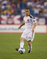 Los Angeles Galaxy midfielder Michael Stephens (26) passes the ball. The New England Revolution defeated LA Galaxy, 2-0, at Gillette Stadium on July 10, 2010.