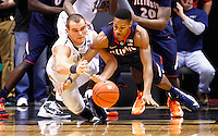 WEST LAFAYETTE, IN - JANUARY 02: D.J. Byrd #21 of the Purdue Boilermakers and Joseph Bertrand #2 of the Illinois Fighting Illini fight for a loose ball at Mackey Arena on January 2, 2013 in West Lafayette, Indiana. (Photo by Michael Hickey/Getty Images) *** Local Caption *** D.J. Byrd; Joseph Bertrand