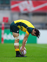 Liam McNamara of Australia scores a try. FISU World University Championship Rugby Sevens Men's Semi Final between Australia and Spain on July 9, 2016 at the Swansea University International Sports Village in Swansea, Wales. Photo by: Patrick Khachfe / Onside Images