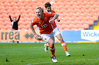 Blackpool's Mark Cullen celebrates scoring his sides third goal <br /> <br /> Photographer Richard Martin-Roberts/CameraSport<br /> <br /> The EFL Sky Bet League Two Play-Off Semi Final First Leg - Blackpool v Luton Town - Sunday May 14th 2017 - Bloomfield Road - Blackpool<br /> <br /> World Copyright &copy; 2017 CameraSport. All rights reserved. 43 Linden Ave. Countesthorpe. Leicester. England. LE8 5PG - Tel: +44 (0) 116 277 4147 - admin@camerasport.com - www.camerasport.com