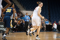 NORFOLK, VA--Sarah Boothe smiles after scoring during play against West Virginia University at the Ted Constant Convocation Center at Old Dominion University for the second round of the 2012 NCAA Championships. The Cardinal advanced to the West Regionals in Fresno with a score of 72-55.