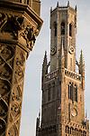 Belfont - Belfry, Market Place; Bruges; Belgium; Europe