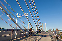 Bicyclists, pedestrians and public transit on the Tilikum Crossing Bridge in Portland, Oregon