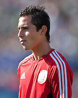 PASADENA, CA – June 25, 2011: Mexico player Paul Aguilar (17) before the Gold Cup Final match between USA and Mexico at the Rose Bowl in Pasadena, California. Final score USA 2 and Mexico 4.
