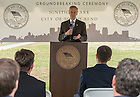 Oct. 15, 2014; John Affleck-Graves, executive vice president, speaks at the ground breaking for the ND Turbo Machinery facility in South Bend. Photo by Barbara Johnston/University of Notre Dame)