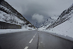 Low cloud over wet mountain road in the Austrian alps. ST Anton, Tyrol, Tirol, Austria.