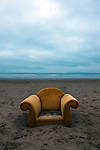 Armchair washed up on Dollymount Strand, Bull Island, Dublin.<br />