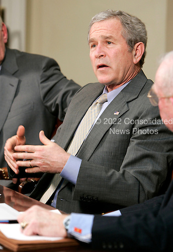 U.S. President George W. Bush speaks to the media after a meeting with members of Securing America's Future Energy in the Roosevelt Room of the White House in Washington, DC Monday 29 January 2007.