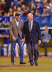 2 April 2016: Founding Owner of the Montreal Expos Charles Bronfman, is followed by his son Stephen, during an on-field ceremony celebrating the life and career of Jim Fanning prior to a pre-season exhibition series between the Blue Jays and the Boston Red Sox at Olympic Stadium in Montreal, Quebec, Canada. The Red Sox defeated the Blue Jays 7-4 in the second of two MLB weekend games, which saw a two-game series attendance of 106,102 at the former home on the Montreal Expos. Mandatory Credit: Ed Wolfstein Photo *** RAW (NEF) Image File Available ***