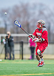 18 April 2015: University of Hartford Hawk Midfielder Adam Yee, a Redshirt Senior from Newtown Square, PA, in action against the University of Vermont Catamounts at Virtue Field in Burlington, Vermont. The Cats defeated the Hawks 14-11 in the final home game of the 2015 season. Mandatory Credit: Ed Wolfstein Photo *** RAW (NEF) Image File Available ***