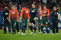 FUSSBALL   1. BUNDESLIGA  SAISON 2012/2013   7. Spieltag FC Augsburg - Werder Bremen          05.10.2012 Aaron Hunt, Joseph Akpala , Torwart Sebastian Mielitz  (v. li., SV Werder Bremen)