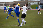 Edinburgh City 1 Cove Rangers 1, 30/04/2016. Commonwealth Stadium, Scottish League Pyramid Play Off. Home forward Ross Allum in second-half action in the Scottish pyramid play-off second leg between Edinburgh City (in white) and Cove Rangers at the Commonwealth Stadium at Meadowbank in Edinburgh. The match between the champions of the Lowland and Highland Leagues determined which club would play-off against East Stirlingshire for a place in the Scottish league. The second leg ended 1-1, giving Edinburgh City a 4-1 aggregate win. Photo by Colin McPherson.