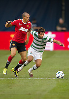 July 16, 2010 Joe Ledley No. 16 of Celtic FC and Gabriel Obertan No. 26 of Manchester United during an international friendly between Manchester United and Celtic FC at the Rogers Centre in Toronto.