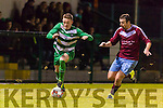 Chris O'Leary Celtic drives down the line against Mervue during their FAI cup tie in Celtic Park on Saturday night