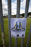 Harestanes AFC v Girvan FC, 15/08/2015. Scottish Cup preliminary round, Duncansfield Park. A poster attached to railing before Harestanes AFC versus Girvan FC, a Scottish Cup preliminary round tie, staged at Duncansfield Park, home of Kilsyth Rangers. The home team were the first winners of the Scottish Amateur Cup to be admitted directly into the Scottish Cup in the modern era, whilst the visitors participated as a result of being members of both the Scottish Football Association and the Scottish Junior Football Association. Girvan won the match by 3-0, watched by a crowd of 300, which was moved from Harestanes ground as it did not comply with Scottish Cup standards. Photo by Colin McPherson.