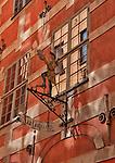 Antique shop sign in the old town in Stockholm, Sweden