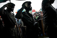 CNDP (National Congress for the Defence of the People) female soldiers loyal to General Nkunda, show solidarity with displaced women at a Women's Day event in Kitchanga, DRC, on Saturday, March. 8, 2008..