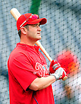 28 September 2010: Philadelphia Phillies' catcher Brian Schneider awaits his turn in the batting cage prior to a game against the Washington Nationals at Nationals Park in Washington, DC. The Nationals defeated the Phillies 2-1 on an Adam Dunn walk-off solo homer in the 9th inning to even up their 3-game series one game apiece. Mandatory Credit: Ed Wolfstein Photo