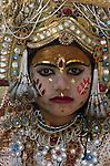 Girl dressed as Sita, Hindu temple, Kathmandu, Nepal