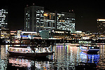 """""""Yakata-bune"""" pleasure boats set anchor on the placid waters of Tokyo Bay in Tokyo, Japan on 31 August  2010. .Photographer: Robert Gilhooly"""