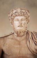 Roman sculpture of the Emperor Lucius Verus, excavated from Bulla Regia Theatre, sculpted circa 161-169 AD. The Bardo National Museum, Tunis.