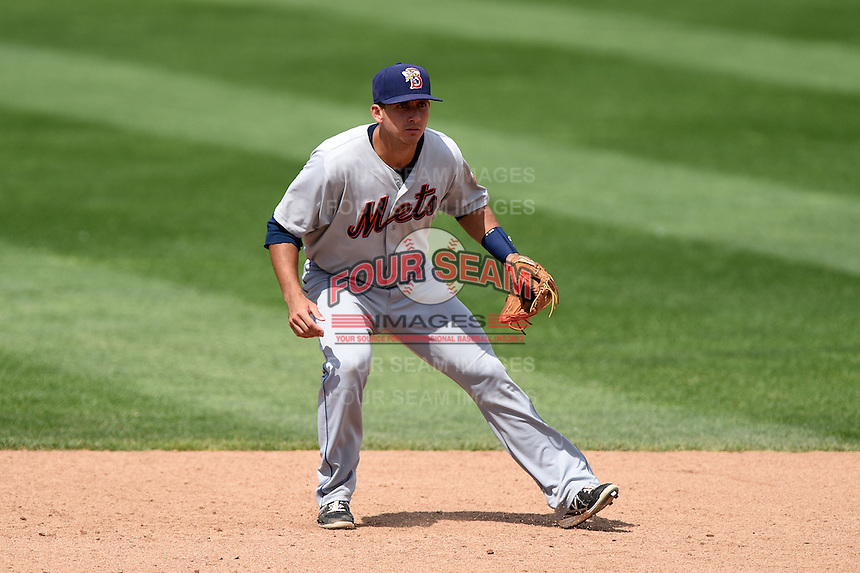 Binghamton Mets shortstop T.J. Rivera (5) during a game against the Erie Seawolves on July 13, 2014 at Jerry Uht Park in Erie, Pennsylvania.  Binghamton defeated Erie 5-4.  (Mike Janes/Four Seam Images)
