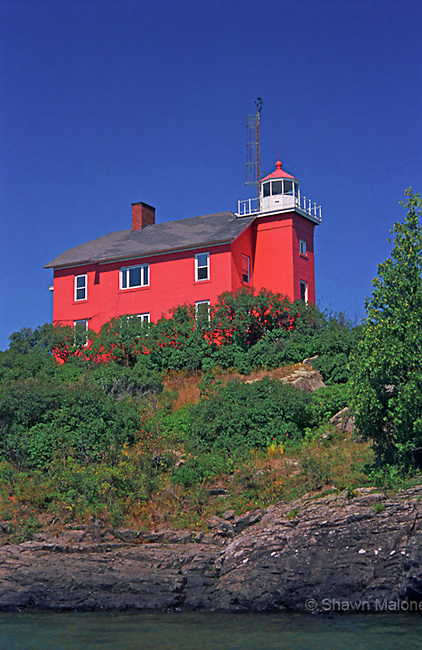 Marquette lighthouse from Lake Superior portrait lighthouses in the Upper Peninsula of Michigan