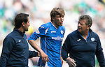Celtic v St Johnstone...29.08.15  SPFL   Celtic Park<br /> Murray Davidson receives treatment after his head clash with Emilio Izaguirre<br /> Picture by Graeme Hart.<br /> Copyright Perthshire Picture Agency<br /> Tel: 01738 623350  Mobile: 07990 594431