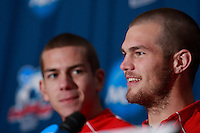 Ohio State Buckeyes defender Eric Brunner (23) listens to defender Doug Verhoff (15) during a press conference prior to the finals of the NCAA College Cup at SAS Stadium in Cary, NC on December 14, 2007.