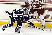 Katie Brock (UNH - 5), Kelli Stack (BC - 16) - The Boston College Eagles and the visiting University of New Hampshire Wildcats played to a scoreless tie in BC's senior game on Saturday, February 19, 2011, at Conte Forum in Chestnut Hill, Massachusetts.