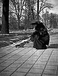 Washington DC:  Sarah Stewart feeding a squirrel in Folger Park - 1912. Brady and Sarah Stewart stayed at a nearby hotel while on their honeymoon