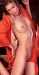 Erotic photo of a beautiful nude young asian woman in red kimono