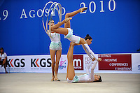 Rhythmic group from Ukraine performs with 5-hoops at 2010 Pesaro World Cup on August 28, 2010 at Pesaro, Italy.  Photo by Tom Theobald.