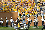 2 September 2006: Wake Forest Demon Deacon mascot leads the team onto the field on a motorcycle with the yellow-clad student section in the background. Wake Forest defeated Syracuse 20-10 at Groves Stadium in Winston-Salem, North Carolina in an NCAA college football game.