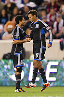 Chris Wondolowski (8) of the San Jose Earthquakes celebrates scoring during the first half against the New York Red Bulls during a Major League Soccer (MLS) match at Red Bull Arena in Harrison, NJ, on April 14, 2012.